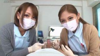 マスクフェチ必見!医療用マスクをした可愛いナース二人から包茎のチンカスを掃除してもらう主観映像ww(武井麻希 HIKARI)